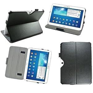 Housse luxe Samsung Galaxy Tab 3 10.1 pouces P5200 / P5210 / P5220 16 Go (Wifi/3G/4G) Ultra Slim Cuir Style avec stand et fonction Smart Cover - Etui coque de protection Samsung Galaxy Tab 3 10.1 GT-P5200 / GT-P5210 / GT-P5220 noire/black - Prix découverte accessoires pochette XEPTIO : Exceptional case !