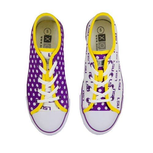 LSU Tigers Canvas Lace-Up Tennis Shoes for Women Purple Size 10