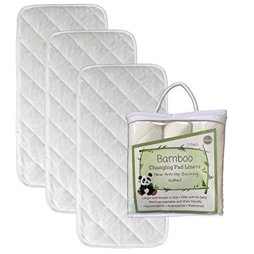 NEW ANTI SLIP Bamboo Changing Pad Liners – Stays in Place Under Wiggly Baby – Waterproof – 3 Pack – Quilted – Ultra Soft – Large – Highly Absorbent – Machine Washable, Dryer Friendly