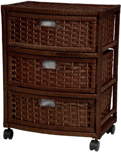 """Attractive Practical Most Affordable Nightstand End Tables - 23"""" 3 Drawer Woven Plant Fiber Rattan Style Storage Chest - Mocha"""