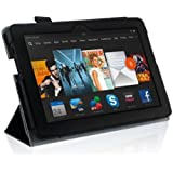 InventCase Amazon Kindle Fire HDX 7 Tablet (7 inch - 3rd Generation) 2013 Smart Multi-Functional PU Leather 3-Fold Case Cover with Sleep Wake Function - Black