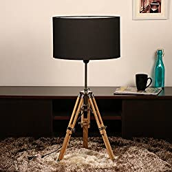 Cocovey Sheesham Wood Black Cotton Shade Floor Tripod Lamp
