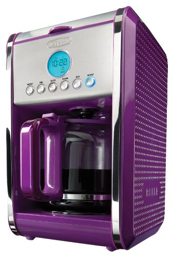 BELLA Dots Collection 12-Cup Programmable Coffee Maker, Purple