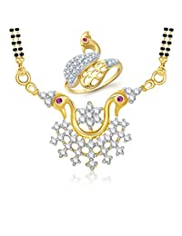 Meenaz Mangalsutra Jewellery Set Combo Gold Plated Cz In American Diamond For Girls &Women Com245