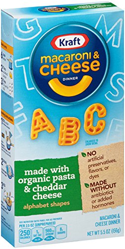 Kraft Mac & Cheese Dinner Made with Organic Pasta & Cheese, Alphabet Shapes, 5.5 Ounce (Pack of 12) (Kraft Macaroni And Cheese Organic compare prices)