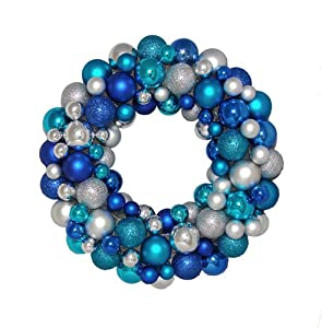 """16"""" Shades of Blue and Silver Shatterproof Christmas Ball Ornament Wreath"""