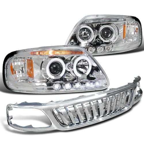 Ford F150 Chrome Halo Led Projector Headlights, Front Grill Grille Chrome