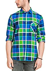 Zovi Cotton Slim Fit Shades Of Blue & Green Checkered Casual Shirt(12032806601_Large)