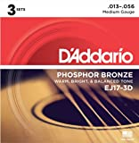 D'Addario EJ17-3D Phosphor Bronze Acoustic Guitar Strings, Medium, 13-56, 3 Sets