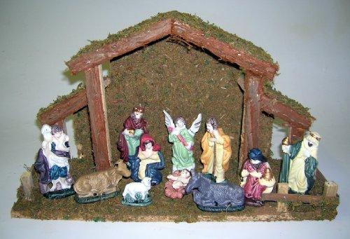 Premier 11 Piece Nativity Barn With Animal Pen 39cm