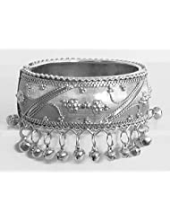 DollsofIndia Metal Hinge Bracelet With Metal Beads - Metal - White