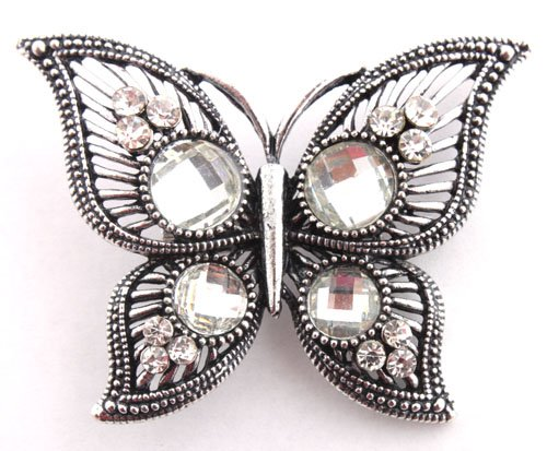 3 Pieces of Ladies Silver  Clear Iced Out Butterfly