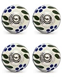 Knobs & Hooks FBK-171 Ceramic Cabinet Knob; White+Blue; (Set of 4 pieces)