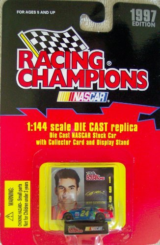 1997 Edition Racing Champions #24 Jeff Gordon 1:144 Scale Replica Die Cast Replica w/Collector Card and Display Stand