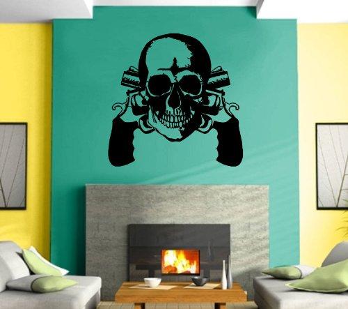 Wall Stickers Vinyl Decal Guns Revolvers Skull Gangster Decor Mural ...