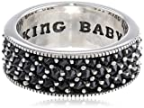 "King Baby Mens ""Reverse Set"" Black Cubic Zirconia with Wide Band"
