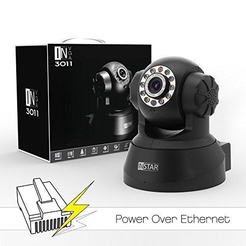 INSTAR IN-3011 PoE (schwarz) steuerbare Pan Tilt PoE IP Kamera mit max. 15 festen Kamerapositonen, eingebautem Motor, Mikrofon, Lautsprecher, Alarm IO Ein/Ausgang sowie mit IR Nachtsicht. Für MAC / Windows / Linux / Android und IPhone