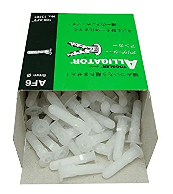 TOGGLER ALLIGATOR AF6 Flanged Anchor, Polypropylene, Made in US, For #6 to #12 Fastener Sizes (Pack of 100)