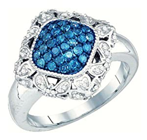 Pricegems 10K White Gold Ladies Blue and White Natural Round Brilliant Diamond Right Hand Fashion Ring (Blue and White Natural Diamonds: 1/2 cttw, I1/I2 Clarity, Ring Size: 6)