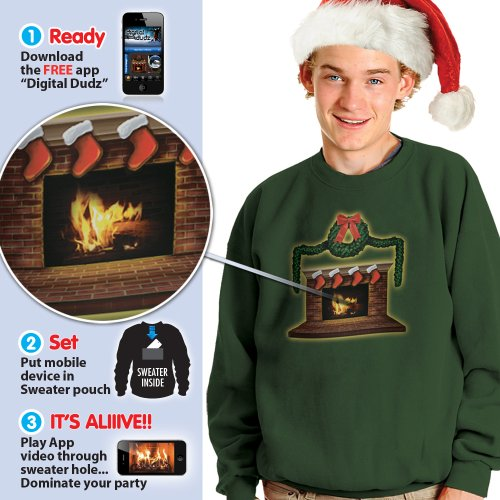 Morphsuits Digital Dudz Fireplace Ugly Christmas Sweatshirt, Green, Small