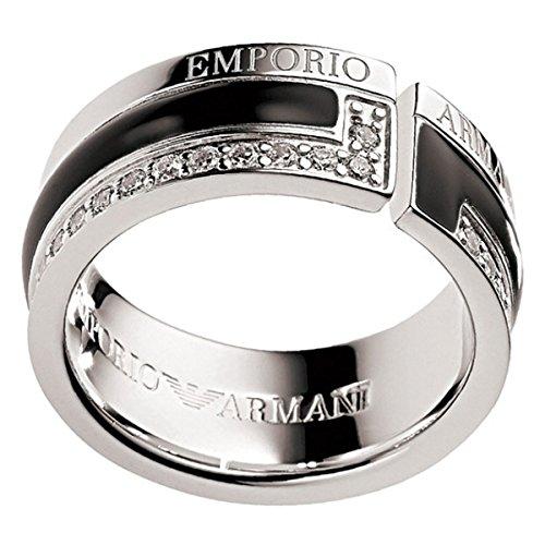 Emporio Armani Damen-Ring 925 Silber rhodiniert Emaille Zirkonia weiß Gr. 54 (17.2) - EG2641040-7