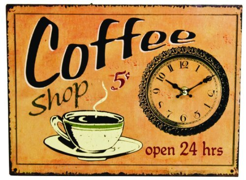 Antique Style Coffee Shop Sign Wall Clock (Coffee Kitchen Clock compare prices)