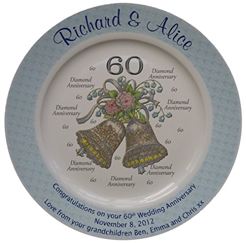 Personalized Bone China Commemorative Plate For A 60th Wedding Anniversary - Wedding Bells Design With A Blue Rim