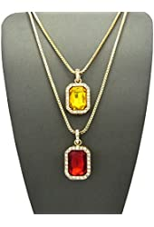 "Yellow Stone & Faux Ruby Stone Pendant Set 2mm 24"" & 30"" Box Chain Necklace in Gold-Tone"