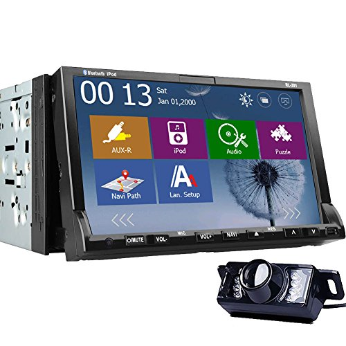 Rear Camera Included 2015 Windows 8.0 New Model 7-Inch Double-2 DIN In Dash Car DVD Player Touch screen LCD Monitor with DVD/CD/MP3/MP4/USB/SD/AM/FM/RDS Radio/Bluetooth/Stereo/Audio and GPS Navigation
