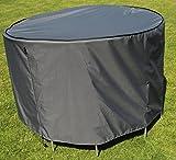 Schutzhülle / Cover für runden Tisch | Grau | Ø 153 x 90 cm (L/W x H) | Waterproof | SORARA | Polyester & PU Coating (UV 50+)| Premium | Abdeckhaube / Wettershutz | Regenfest | für Outdoor Garten Möbel