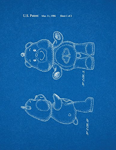 "Love A Lot Care Bear Toy Patent Art Blueprint Poster (11"" X 14"") front-242564"