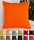 TangDepot Decorative Handmade Solid Cotton Throw Pillow Covers /Pillow Shams, 15 Color and 9 Size options, Apple green, Brilliant rose, Coral, Dark Navy, Deep coffee, Gray Stone, Khaki, Light Purple Lavende, Light blue, Light coffee, Orange, Red, Salmon p