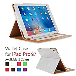 iPad Pro 9.7 Case - Leather Stand Folio Case Cover for Apple iPad Pro 9.7 Inch Case 2016, with Multiple Viewing Angles, Document Card Pocket ,Color (White)