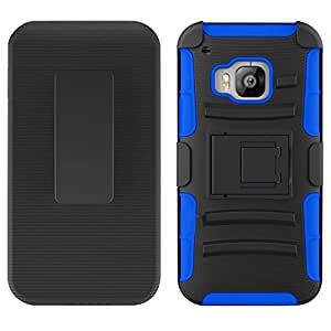 Zizo HTC One M9 Heavy Duty Armor Style Case with Holster - Retail Packaging - Blue/Black