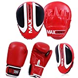 MAXSTRENGTH ® Red, Mex, Curved, Focus Pads, And 10z, Red Boxing Gloves, Martial Arts, Training, Kickboxing, Punching, Equipment, Muay Thai, Karate, Pads, Boxing, Mitts, Heavy Duty, Kit, Punch Bag, pair.