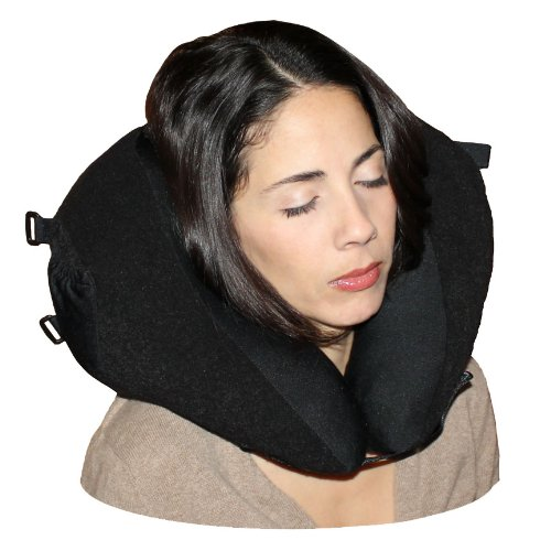 Neck Support Pillow (black/black) for Travel and Home w/ Bag - made in USA!