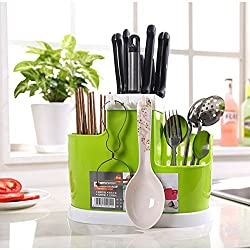 LussoLiv Self Draining Organizer Spoon Spatula Chopsticks Brush Holder Kitchen Draining Rack Storage Tools