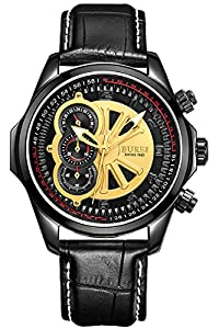 BUREI Men's 17002-P06EG Quartz Chronograph Watch with Black Calfskin Strap