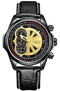 BUREI Men's 17002-P06EG Quartz Chronograph Watch with Black Calfskin Strap