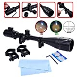 Safstar Optics Hunting Rifle Scope 6-24x50 AOE Red & Green Illuminated Mil-dot Crosshair Gun Scope With Free Mounts