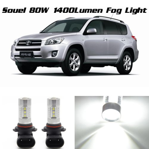 Partsam 9012 9006 High Power White 80W Drl Fog Driving Lamps For Toyota Rav4 2001 2002 2003 2004 2005