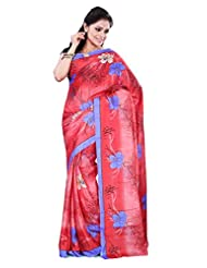 Alethia Red & Blue Crepe Daily Wear Printed Sarees With Blouse Piece