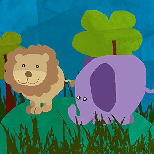 Green Leaf Art Lion and Elephant Canvas Art