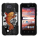 ZTE Maven Case, Dual Layer Shell STRIKE Impact Kickstand Case with Unique Graphic Images for ZTE Maven Z812, ZTE Overture 2 Z813, Z810, ZTE Fanfare Z791, Z792 (AT&T, Cricket) from MINITURTLE | Includes Clear Screen Protector and Stylus Pen - Koi Fish