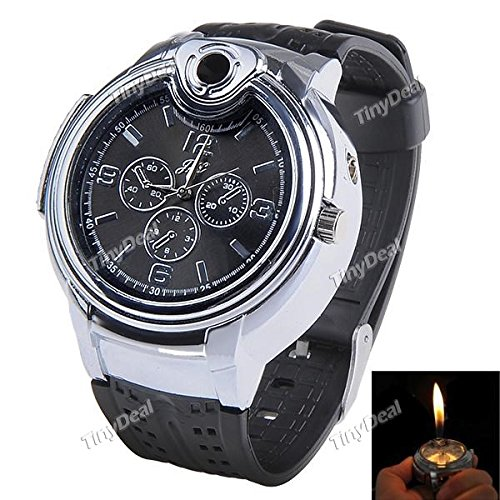 Tiny Deal Tiny Deal Grey Dial Watch with Refill Butane Cigarette Lighter