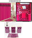 19 Piece Bath Accessory Set Pink Zebra Bathroom Rugs & Shower Curtain & Accessories