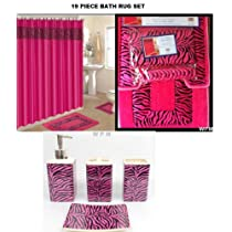 Pink Zebra Bath 19 Piece Accessories Set  Bathroom Rugs & Shower Curtain