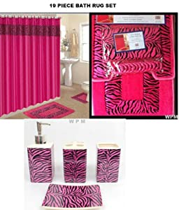 Amazon.com - 19 Piece Bath Accessory Set Pink Zebra Bathroom Rugs