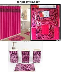 19 piece bath accessory set pink zebra for Bathroom decor amazon