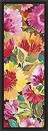 14in x 38in Dahlia II by Kim Parker - Black Floater Framed Canvas w/ BRUSHSTROKES
